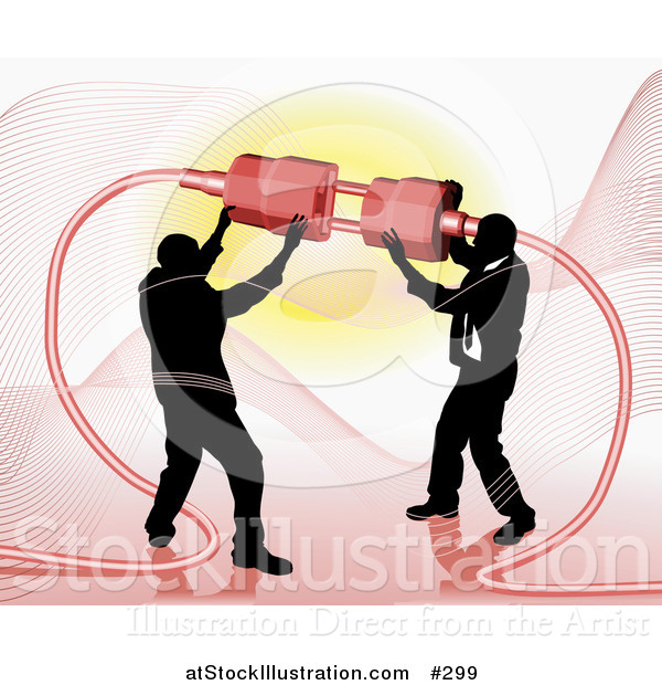 Vector Illustration of Two Businessmen Working Together to Connect a Plug and Socket over Red