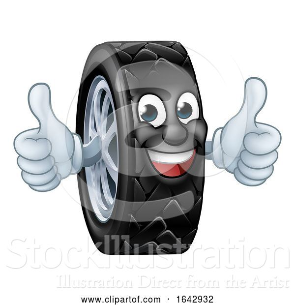 Vector Illustration of Tyre Car Mechanic Service Mascot