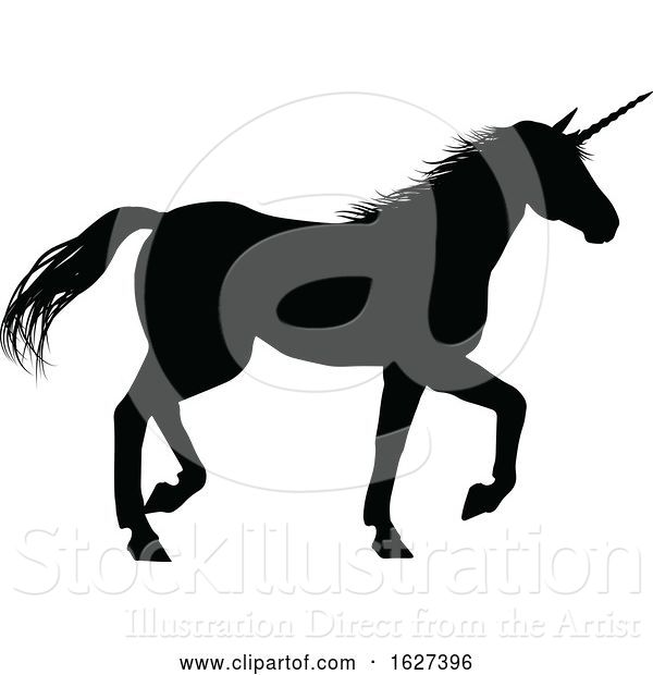 Vector Illustration of Unicorn Silhouette Horned Horse