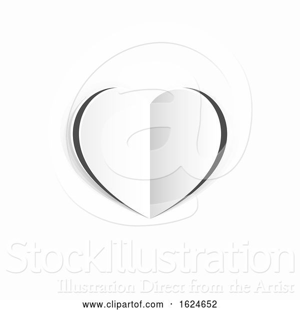 Vector Illustration of Valentines White Paper Heart Concept