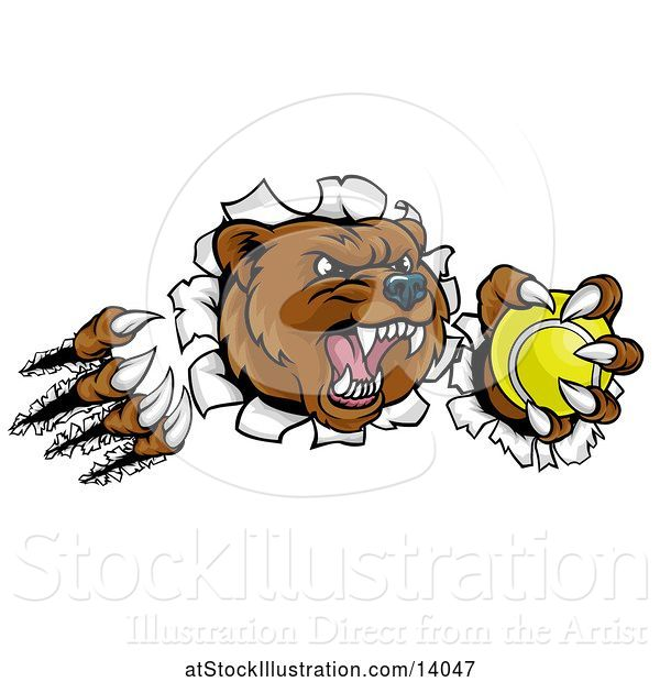 Vector Illustration of Vicious Aggressive Bear Mascot Slashing Through a Wall with a Tennis Ball in a Paw