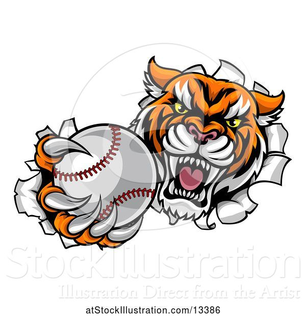 Vector Illustration of Vicious Tiger Mascot Breaking Through a Wall with a Baseball