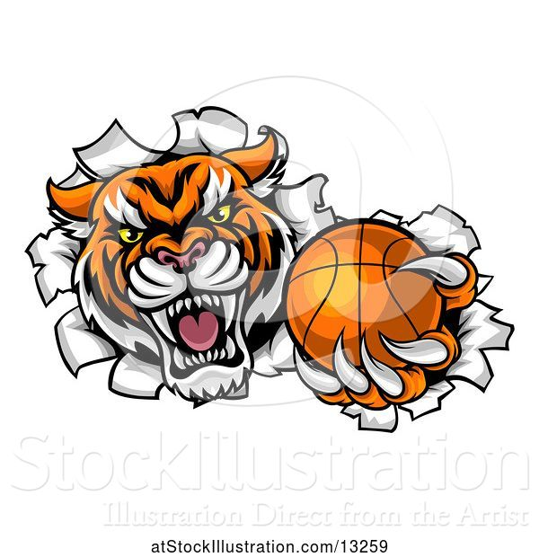 Vector Illustration of Vicious Tiger Mascot Breaking Through a Wall with a Basketball