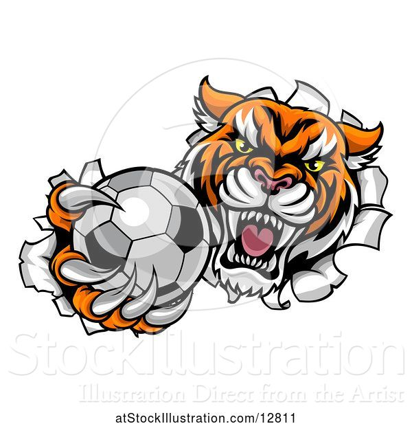 Vector Illustration of Vicious Tiger Mascot Breaking Through a Wall with a Soccer Ball