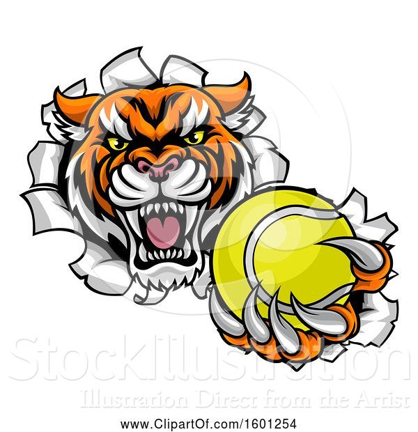 Vector Illustration of Vicious Tiger Mascot Breaking Through a Wall with a Tennis Ball