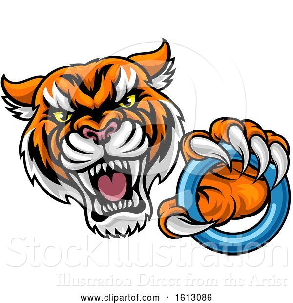 Vector Illustration of Vicious Tiger Sports Mascot Grabbing a Ringette Ring