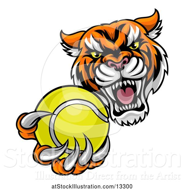 Vector Illustration of Vicious Tiger Sports Mascot Grabbing a Tennis Ball