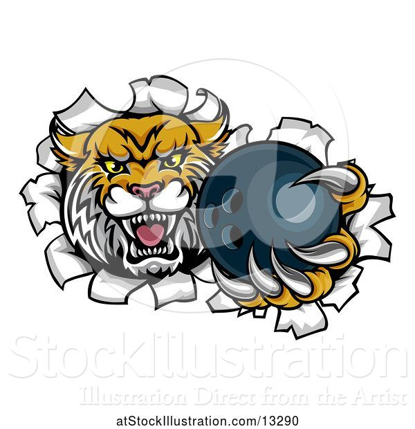 Vector Illustration of Vicious Wildcat Mascot Breaking Through a Wall with a Bowling Ball
