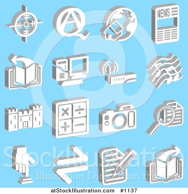 Vector Illustration of Viewfinder, Questions and Answers, Home and Globe, News, Book, Computer, Wireless Router, Music Notes, Castle, Math Symbols, Camera, Magnifying Glass, Button and Letter, over a Blue Background