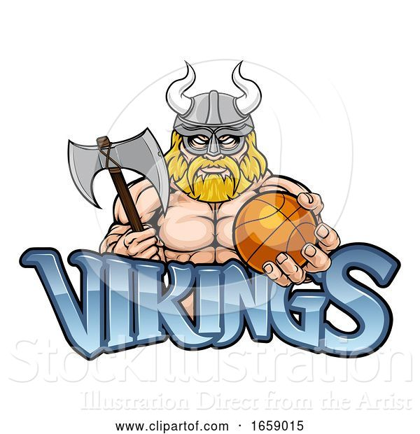 Vector Illustration of Viking Basketball Sports Mascot