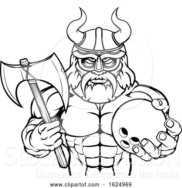 Vector Illustration of Viking Bowling Sports Mascot
