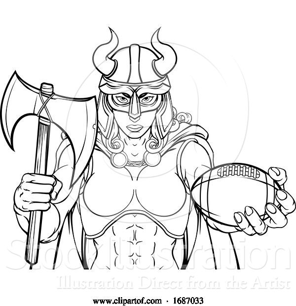 Vector Illustration of Viking Female Gladiator Football Warrior Lady