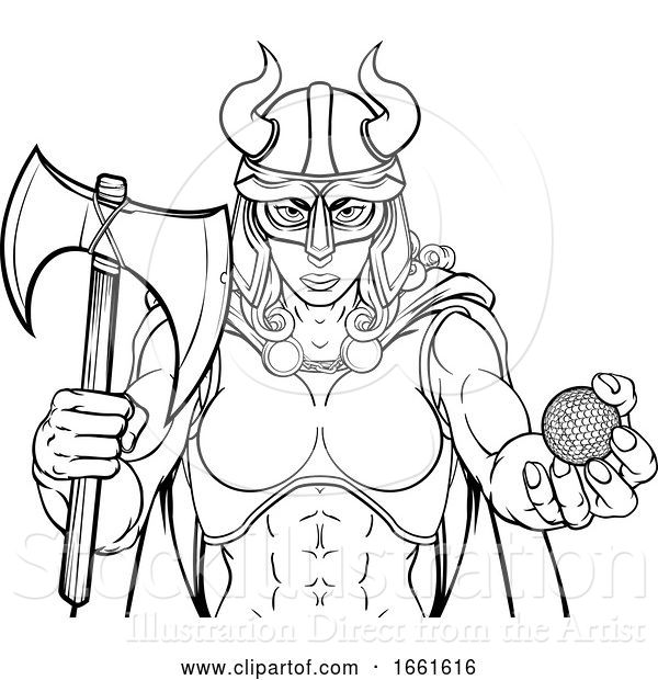 Vector Illustration of Viking Female Gladiator Golf Warrior Lady
