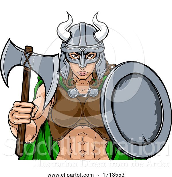 Vector Illustration of Viking Female Gladiator Warrior Lady Team Mascot