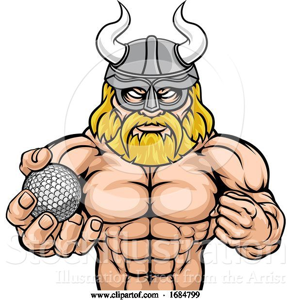 Vector Illustration of Viking Golf Sports Mascot