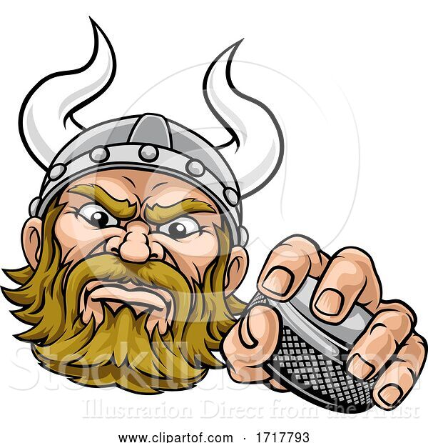 Vector Illustration of Viking Ice Hockey Sports Mascot