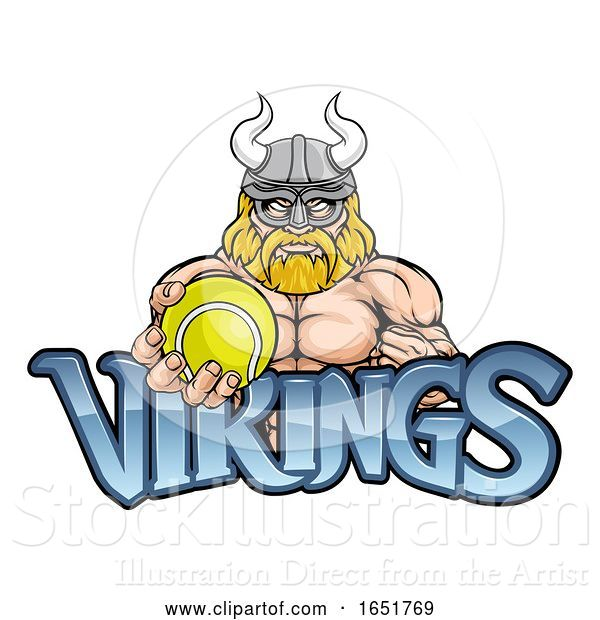 Vector Illustration of Viking Tennis Sports Mascot