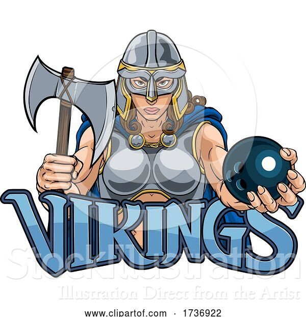 Vector Illustration of Viking Trojan Celtic Knight Bowling Warrior Lady