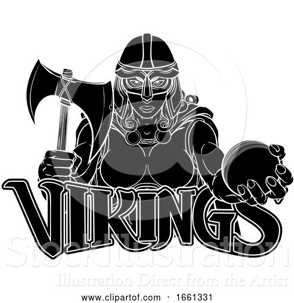 Vector Illustration of Viking Trojan Celtic Knight Cricket Warrior Lady
