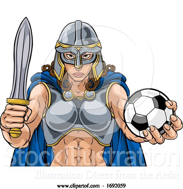Vector Illustration of Viking Trojan Celtic Knight Soccer Warrior Lady