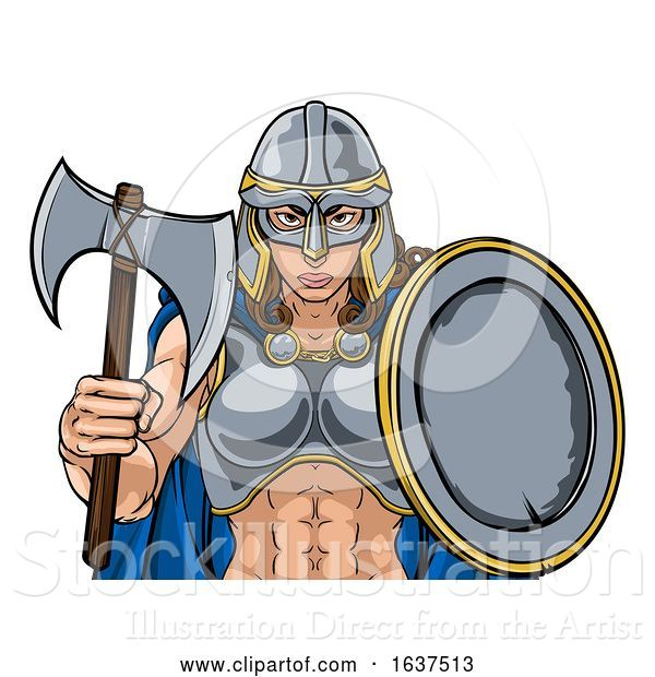 Vector Illustration of Viking Trojan Spartan Celtic Warrior Knight Lady