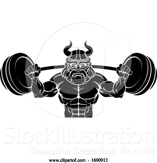 Vector Illustration of Viking Weight Lifting Body Building Mascot