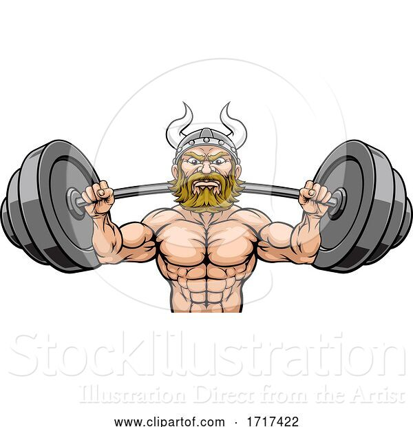 Vector Illustration of Viking Weight Lifting Mascot Muscle Gym