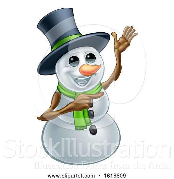 Vector Illustration of Waving Snowman Wearing a Top Hat