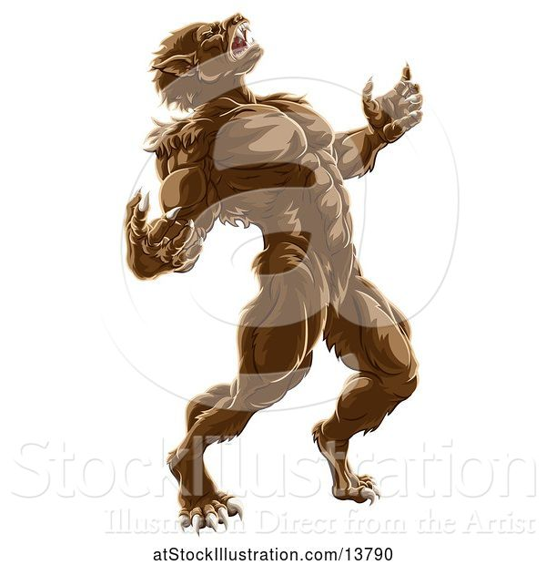 Vector Illustration of Werewolf Beast Howling and Transforming
