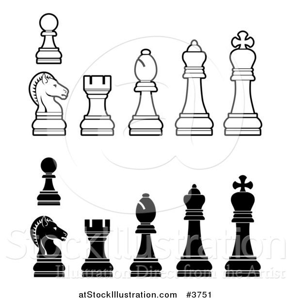 Vector Illustration of White and Black Chess Pieces