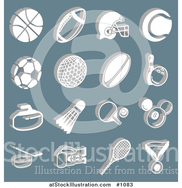 Vector Illustration of White Athletic Basketball, Football, Soccer, Golf, Rugby, Bowling, Badmitten, Ping Pong, Billiards, Hockey, Tennis, and Boxing Icons over a Blue Background