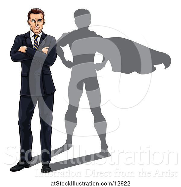 Vector Illustration of White Businessman Standing with Folded Arms and a Super Hero Shadow