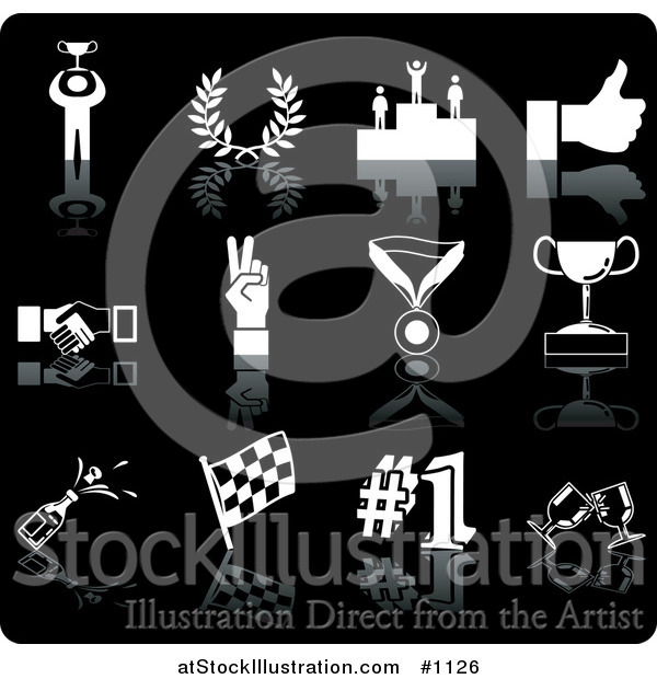 Vector Illustration of White Champion, Laurel, Winner, Thumbs Up, Handshake, Peace Gesture, Medal, Trophy, Champagne, Flag, Number 1 and Toasting Wine Glasses Sports Icons on a Black Background