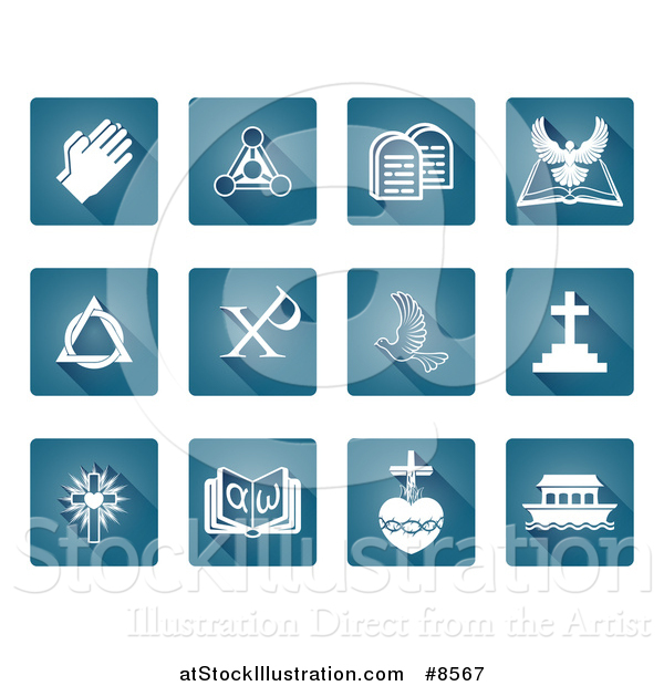 Vector Illustration of White Christian Icons on Blue Square Tiles