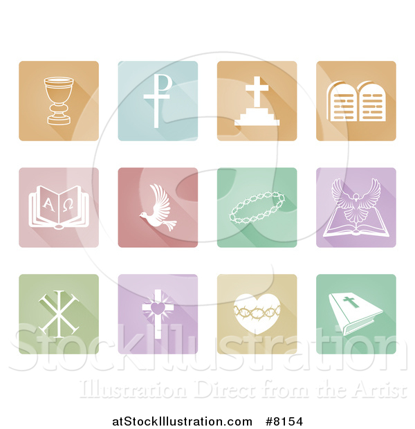 Vector Illustration of White Christian Icons on Colorful Pastel Square Tiles