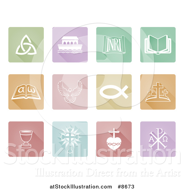 Vector Illustration of White Christian Icons on Colorful Pastel Tiles