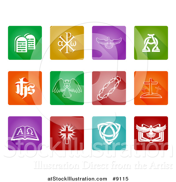 Vector Illustration of White Christian Icons on Colorful Square Tiles with Rounded Corners