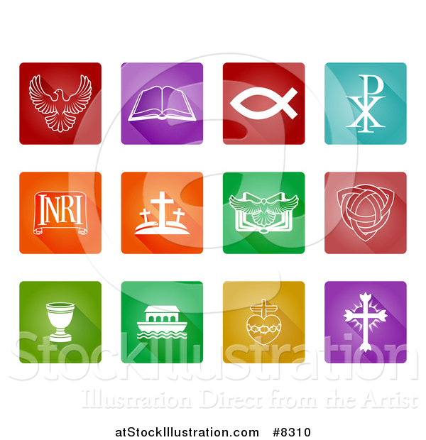Vector Illustration of White Christian Icons on Colorful Squares