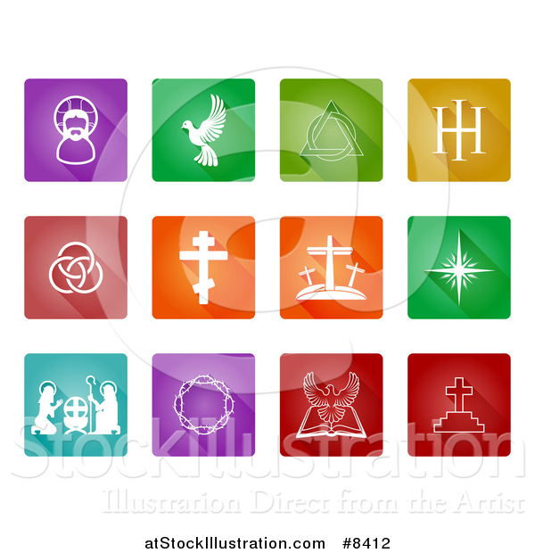 Vector Illustration of White Christian Icons on Colorful Tiles