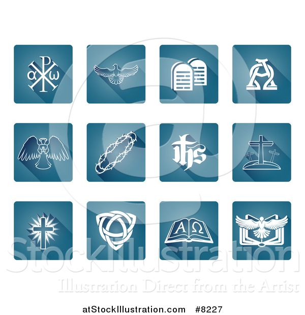 Vector Illustration of White Christian Icons on Gradient Blue Square Tiles with Rounded Corners