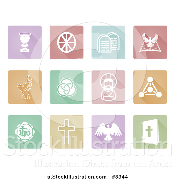 Vector Illustration of White Christian Icons on Pastel Colorful Tiles with Shadows