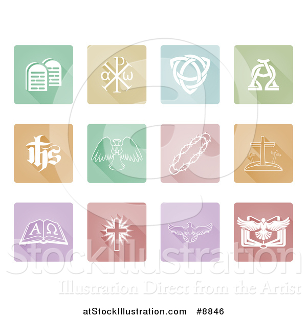 Vector Illustration of White Christian Icons on Pastel Tiles