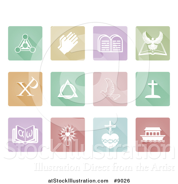 Vector Illustration of White Christian Icons on Square Colorful Pastel Tiles