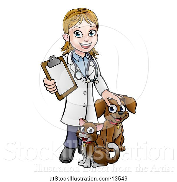 Vector Illustration of White Female Veterinarian Holding a Clipboard and Standing with a Cat and Dog