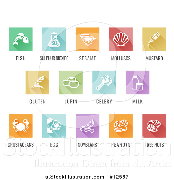 Vector Illustration of White Food Allergy Icons over Colored Square Tiles with Text