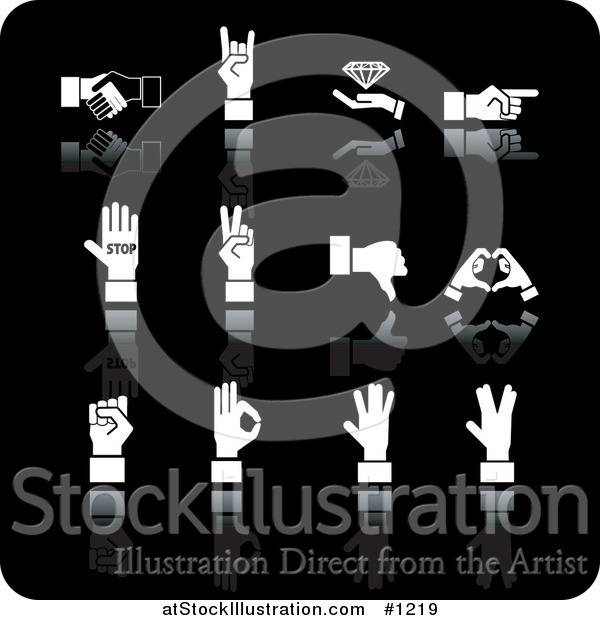 Vector Illustration of White Handshake, Diamond, Pointing, Stop, Peace, Thumbs Down, Love, and Ok Hand Gestures