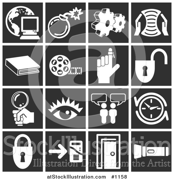 Vector Illustration of White Icons over a Black Background, Including a Computer over a Globe, Bomb, Cogs, Letter, Book, Film Reel, Reminder on a Finger, Padlock, Magnifying Glass, Eye, Messenger, Clock, Doorway, and Flashlight