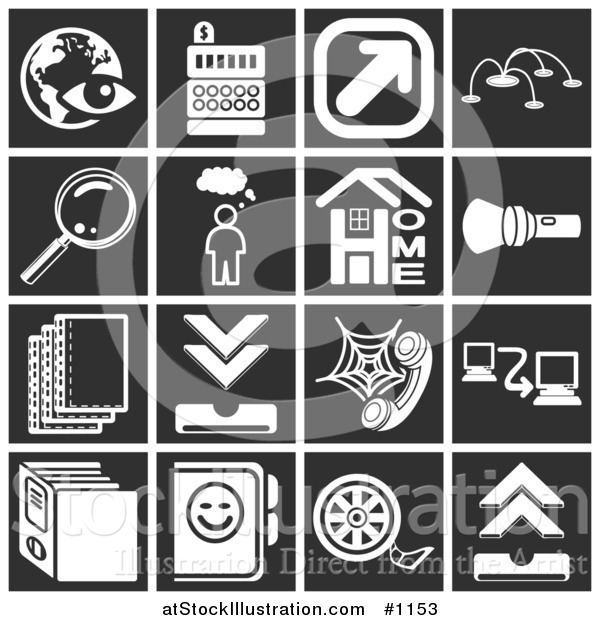 Vector Illustration of White Icons over a Black Background, Including an Eye over a Globe, Cash Register, Arrow, Magnifying Glass, Thought Bubble, Home, Flashlight, Letters, Telephone, Networking, Files, and Film Reel