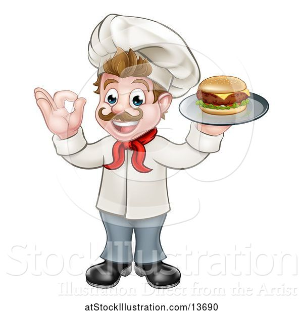 Vector Illustration of White Male Chef Gesturing Ok and Holding a Cheeseburger on a Tray