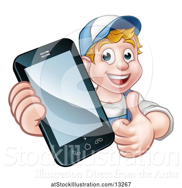 Vector Illustration of White Male Handyman Giving a Thumb up and Holding out a Smart Phone